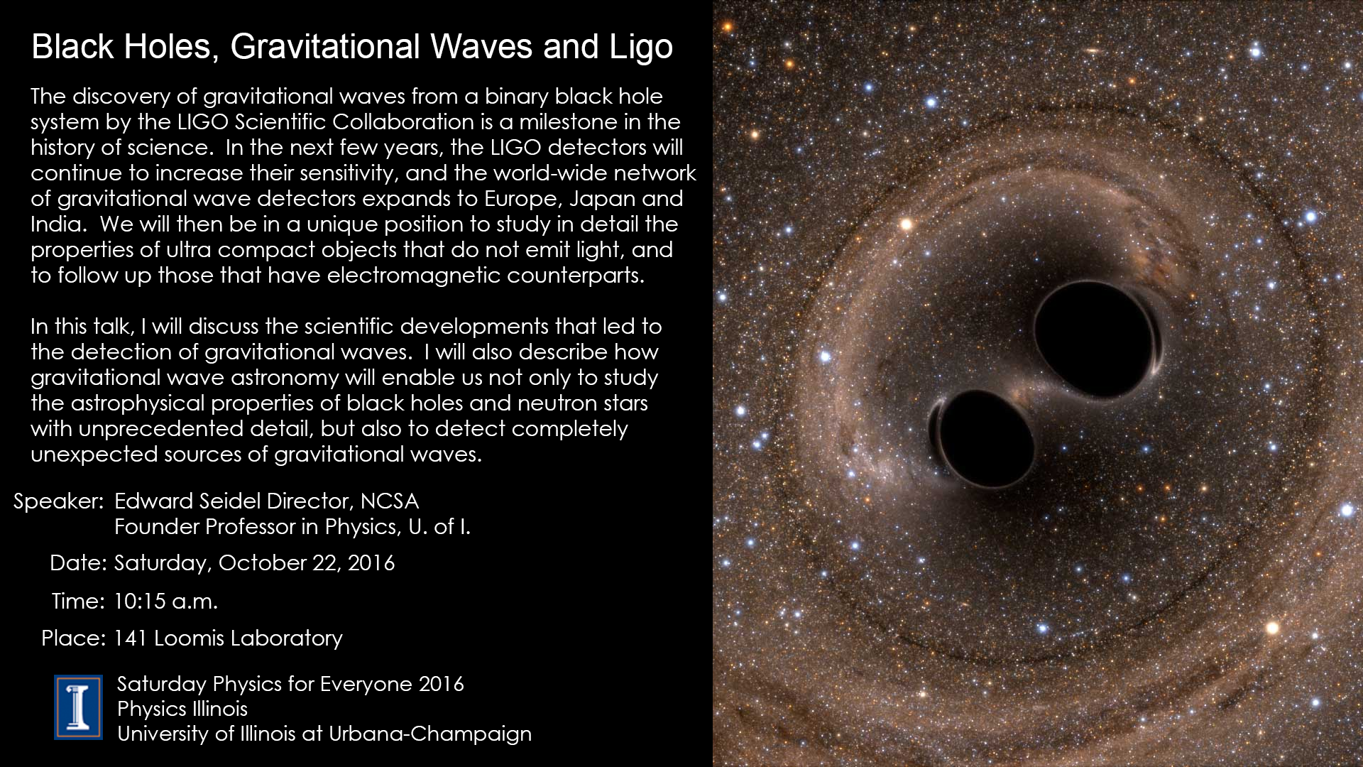 SPE slide for Black Holes, Gravitational Waves, and LIGO